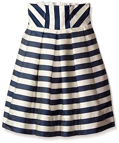 Monnalisa Kid's Stripe Skirt, Ivory Navy, 10 by Monnalisa