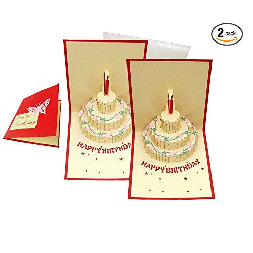 Greeting Cards,ABBER Creative Papercraft Pop-Up 3D Birthday Cake Birthday Cards Love Gifts Origami & Kirigami Birthday Cards. (Pack of 2)