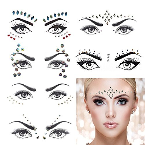 Mermaid Face Gems Rave Festival Face Jewels Stickers, Crystals Bindi Rainbow Tears Rhinestone Forehead Eyes Face Body Decorations, Face Tattoo Sticker for Costume Parties 6 Set