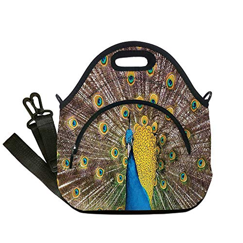 Insulated Lunch Bag,Neoprene Lunch Tote Bags,Peacock Decor,Peacock Displaying Feathers Golden Vibrant Colors Eye Shaped Patterns Picture,for Adults and children (Displaying Peacock Feathers)
