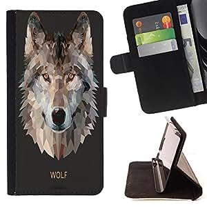 King Case - FOR Sony Xperia Z2 D6502 - A cunning Wolf - Prima caja de la PU billetera de cuero con ranuras para tarjetas, efectivo Compartimiento desmontable y correa para la mu?eca
