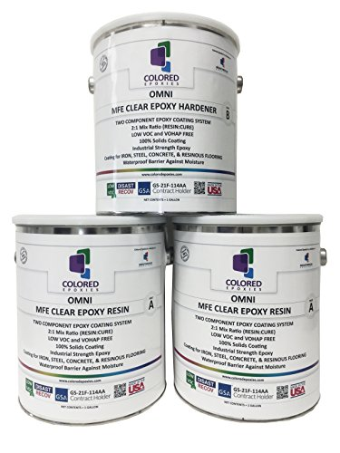 (Coloredepoxies 10001 Clear Epoxy Resin Coating 100% Solids, High Gloss For Garage Floors, Basements, Concrete and Plywood. 3 Quart Kit)