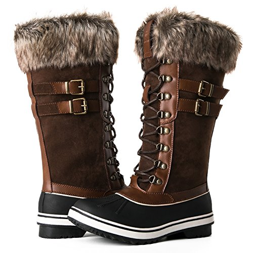 GLOBALWIN Women's 1735 Brown Waterproof Snow Boots 7M US