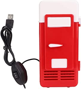 Mini Portable Compact Personal Fridge Cooler and Warmer USB Office Dual-Use Portable Refrigerator Drink Cooler For Home Office Car Dorm or Boat - Compact & Portable(red)