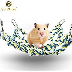 Cotton Rope Net for Small Pets --- Hanging Hammock for Cage - Activity & Climbing Toy - Mental, Physical Stimulation - 100% Natural - Net Pet Bed For Hamsters, Cockatiels, Parakeets - 4 Hooks included
