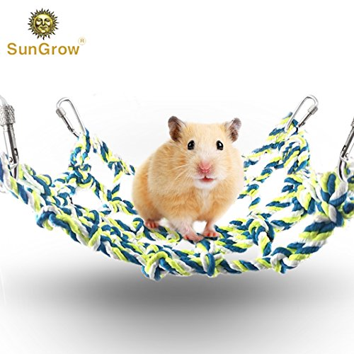 SunGrow Cotton Rope Net - Small Animal Activity & Climbing Toy - For Mental and Physical Stimulation – 100% Natural, Petsafe - Ideal for Rats, Ferrets, Hamsters, Cockatiels, Parakeets, Guinea (Ferret Rat)
