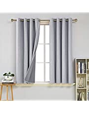 Deconovo Faux Linen Blackout Curtains Thermal Insulated Energy Saving Window Treatment Eyelet Room Darkening Curtains