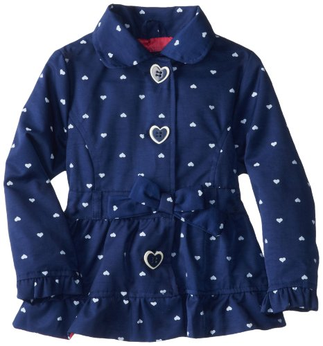 Pink Platinum Little Girls'  Polka Hearts Hooded Trench Rain Jacket, Navy, 4