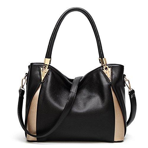 Rétro Vrac épaule Shopping Sac Mode Bandoulière Main épissage Black Lady Sac En à à 6wqHFgF
