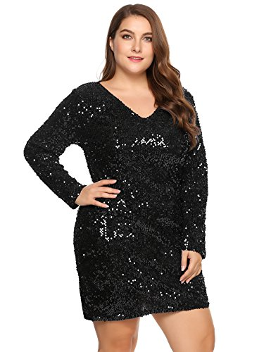 IN'VOLAND Women Glitter V-Neck Long Sleeve Bodycon Sequin Cocktail Party Club Evening Mini Dress(16~24W) (22W, ()