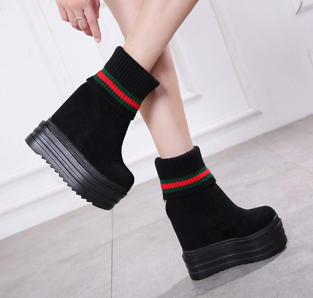 SHANGWU Frauen Plattform Keil Stiefeletten Versteckte High Heels Heels Heels 13 cm Trainer Schnürstiefel High Heel Schwarze Stiefel Knit Stiefel Größe b60f24
