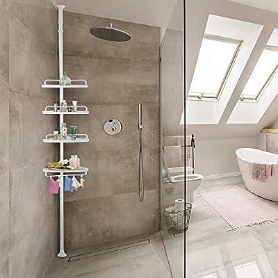 Deuba Estantería telescópica de baño ducha Blanca estantes de ...