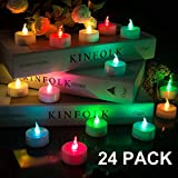 Beichi 24 Pack Color Changing LED Tea Lights, Flameless Tealight Candles with Rainbow Colors No Flickering Light, Battery Operated Fake Candles for Weeding, Party and Christmas