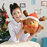 """8.7"""" Animated Musical Reindeer Figure Kids Soft Plush Stuffed Toy Doll Lights up Singing Christmas Figurine Decorations Electric Home Ornament Decoration Toys for Kids Birthday Present Christmas Gift"""