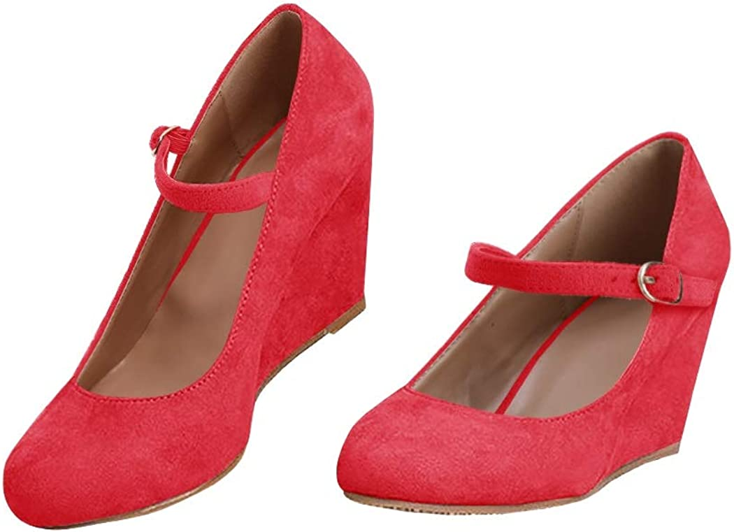 Womens Wedge Pumps Mary Jane Ankle Strap High Heel Round Toe Office Work Wedding Shoes