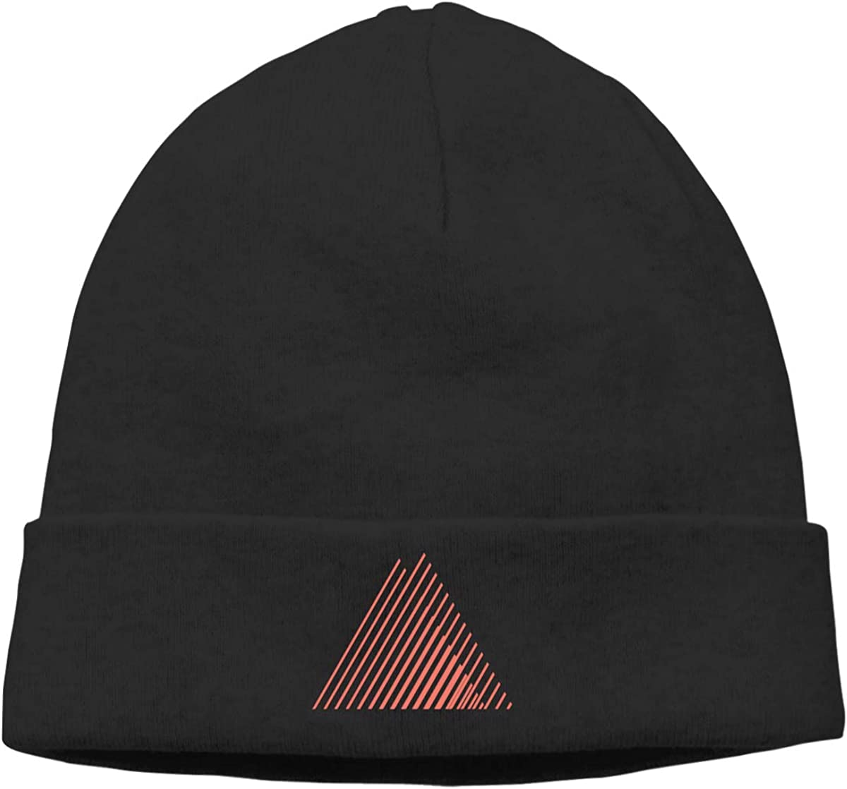 Nskngr Orange Line Triangle Unisex Cuffed Oversized Baggy Knit Cuff Beanie
