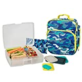 Bentology Lunch Bag and Box Set - Includes Insulated Bag with Handle, Bento Box, 5 Containers and Ice Pack - Shark Camo