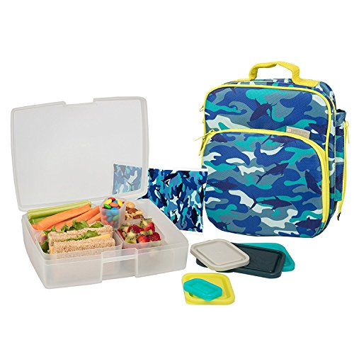 Bentology Lunch Bag and Box Set- Durable Insulated Tote w Bottle Holder- Boys School Lunchbox Includes Bento Box, 5 Containers & Ice Pack - BPA & PVC Free - Camo