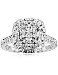 10k White Gold Diamond Ring (1/2cttw, I-J Color, I2-I3 Clarity), Size 7
