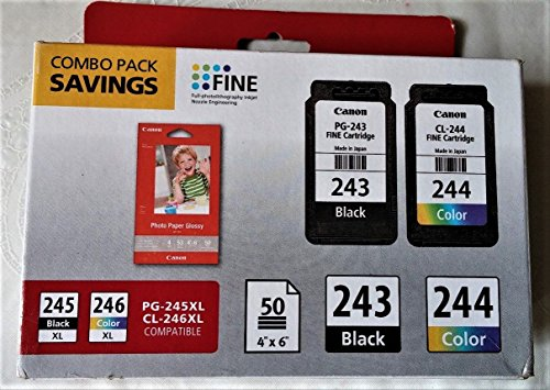 Price comparison product image Canon Ink Pack with PG-243 Black Ink,  CL-244 Color Ink and 4x6in Photo Paper