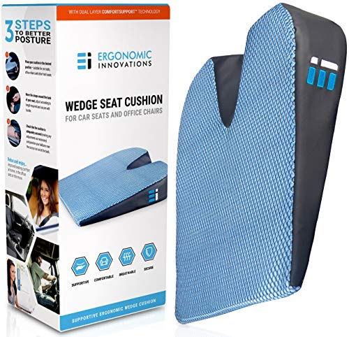 Memory Foam Car Seat Cushion: Breathable, Non Slip, Dual Layer Memory and Polyurethane Lumbar Support Pad; Orthopedic, Coccyx, Pelvic, and Sciatica Pain Relief Wedge for Cars Trucks and Office ()