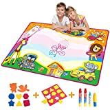 Doodle Mat Kids Toys Doodle Mat, Toddlers Drawing Painting Water Board Magic Writing Large Mat Scribble Learning Scribble Boards with Magic Pen for Kids Children Boys Girls Size 34 x 22.5 (Animal)