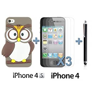 OnlineBestDigitOwl Style Slim Soft Silicone Case For Samsung Note 4 Cover NBAGrey with 3 Screen Protectors and Stylus