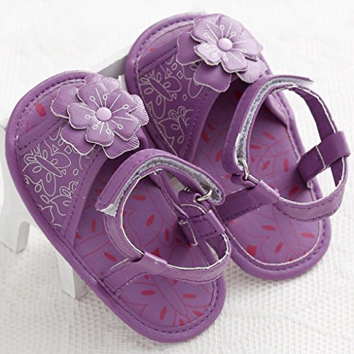 Tefamore Zapatos Sandalias Bebé de Recién Nacido Flor Suave Suela Antideslizante Zapatillas Niña Cuna Púrpura