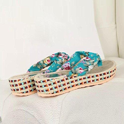 bescita Sommer Frauen Keil Plattform Thong Flip Flops Lässige Hausschuhe Badeschuhe (40, Blau)