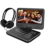 WONNIE 10.5 Inch Portable DVD Player for Kids with 4 Hours rechargeable battery, USB / SD Slot and Stereo Earphones (Black)