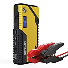 DBPOWER 500A Peak 12000mAh Portable Car Jump Starter (for Engines up to 3L Gas and 2.5L Diesel) Auto Battery Booster Phone Power Bank with Smart Charging Port, Compass & LCD Screen and LED Flashlight (Yellow/Black)