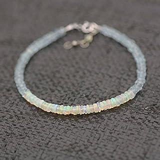 Acquamarina e Welo Opal bracciale in oro bianco massiccio 14K, marzo October Birthstones 3.5mm–4mm