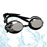 FTALGS Adjustable Swim Goggles, Swimming Goggles No Leaking Anti Fog UV Protection Triathlon with Free Protection Case Ear Plug Nose Clip & Protective Case for Women Men Adult Youth Kids (Black)