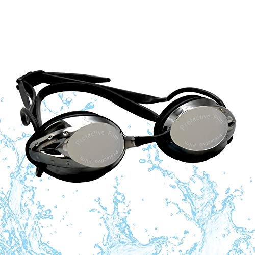 FTALGS Adjustable Swim Goggles, Swimming Goggles No Leaking Anti Fog UV Protection Triathlon Free Protection Case Ear Plug Nose Clip & Protective Case Women Men Adult Youth Kids (Black)