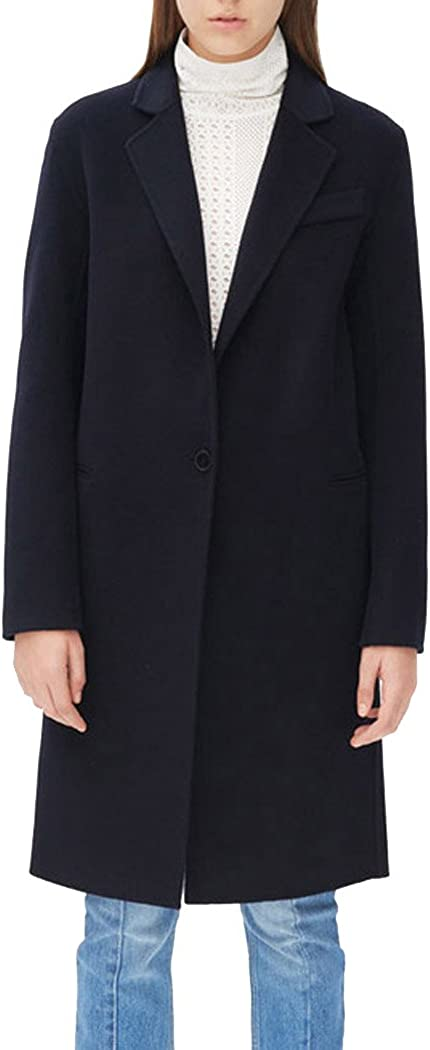 Womens Style Turn Down Collar Long Sleeve Single Breasted Wool Blend Jacket Coat