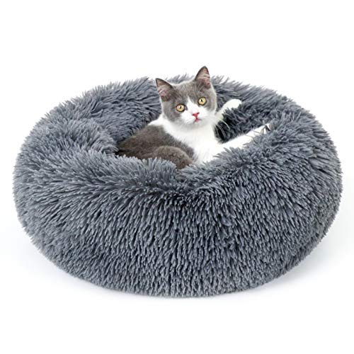 rabbitgoo Cat Bed for Indoor Cats, 20 x 20 inches Fluffy Round Self Warming Calming Soft Plush Donut Cuddler Cushion Pet…