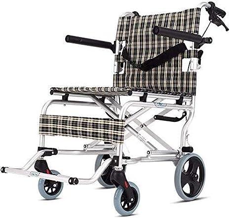 Hyy-yy Silla de ruedas de aluminio silla de ruedas autopropulsada silla de ruedas plegable de tránsito con Hand Brakes a los mayores, la capacidad de carga hasta 100 kg con 16 pulgadas Anchura del asi