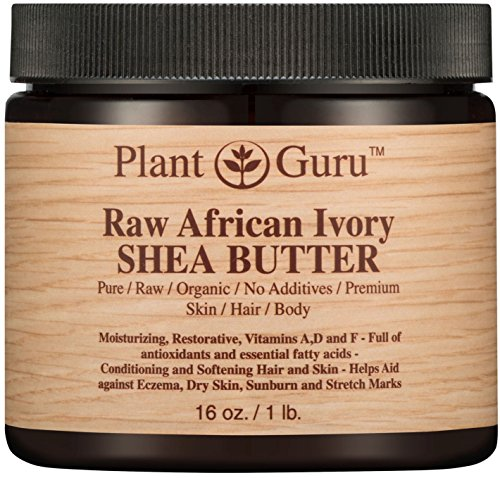 Raw African Shea Butter 16 oz Jar Unrefined 100% Pure Natural Ivory/White Grade A DIY Body Butters, Lotion, Cream, lip Balm & Soap Making Supplies, Eczema & Psoriasis Aid, Stretch Mark Product ()