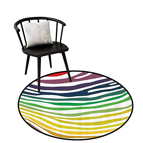Anti-dust Round Rug Zebra Print Decor Collection Will not Touch The Floor Directly Colorful Zebra Stripes Pattern in Cheering Rainbow Color Modern Style Art Red Yellow Green D47(120cm)