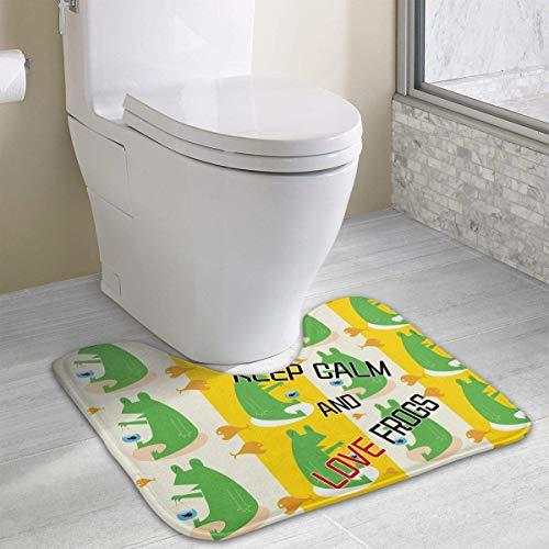 Dealbert Crown Keep Calm and Love Frogs Contour Bath Rugs,U-Shaped Bath Mats,Soft Memory Foam Bathroom Carpet,Nonslip Toilet Floor Mat 19.2″x15.7″