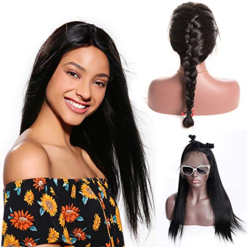 - 360 Lace Frontal Wigs Brazilian Straight Human Hair Wig Pre Plucked With Baby Hair 130-150% Density Lace Front Human Virgin Remy Hair Wigs For Black Women Natural Color Alot (18 inches)