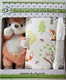 Luxury Super Soft Plush Blanket Set with Fox Rattle Toy for Baby and Toddler Gift for Holiday Christmas Birthday Nursery