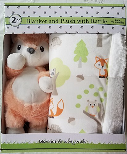 Luxury Super Soft Plush Blanket Set with Fox Rattle Toy for Baby and Toddler Gift for Holiday Christmas Birthday Nursery by Blankets and Beyond