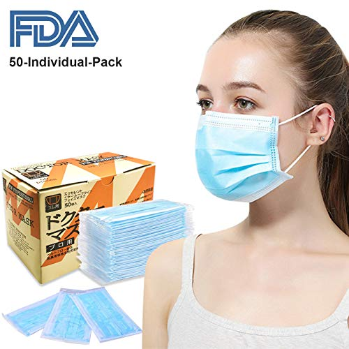 - Disposable Earloop Face Masks - Azmall Premium 50pcs Individually Wrapped 3 Ply Cotton Filter Hypoallergenic Breathability Comfort Face Mask for Medical Surgical Dental Flu Pollen Allergy Bacteria