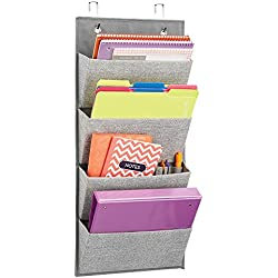 mDesign Over the Door Fabric Office Supplies Storage Organizer for Notebooks, Planners, File Folders - 4 Pockets, Gray