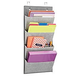 mDesign Wall Mount/Over the Door Fabric Office Supplies Storage Organizer for Notebooks, Planners, File Folders - 4 Pockets, Gray