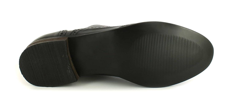 Zapatos mujer negros piel cordones cuero calado, tacón bajo bloque - Color negro - Tallas RU 3-9 - Negro - negro, 40, Negro