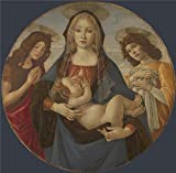 The High Quality Polyster Canvas Of Oil Painting 'Workshop Of Sandro Botticelli The Virgin And Child With Saint John And An Angel ' ,size: 24 X 24 Inch / 61 X 62 Cm ,this Beautiful Art Decorative Prints On Canvas Is Fit For Hallway Artwork And Home Galler
