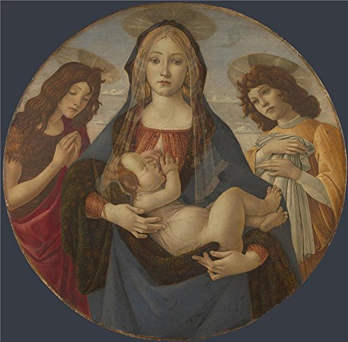 The High Quality Polyster Canvas Of Oil Painting 'Workshop Of Sandro Botticelli The Virgin And Child With Saint John And An Angel ' ,size: 24 X 24 Inch / 61 X 62 Cm ,this Beautiful Art Decorative Prints On Canvas Is Fit For Hallway Artwork And Home Galler by Leo Brown