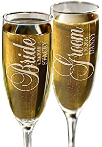 Bride and Groom Personalized Set of 2 Champagne Flutes, Celebration Glasses for Newlyweds, Custom Engraved His Her Champagne Glass Wedding Gift